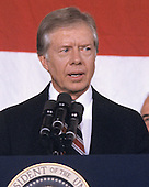 United States President Jimmy Carter makes remarks conceding the election to Republican Ronald Reagan at the Sheraton Washington Hotel in Washington, DC on November 4, 1980.<br /> Credit: Benjamin E. &quot;Gene&quot; Forte / CNP