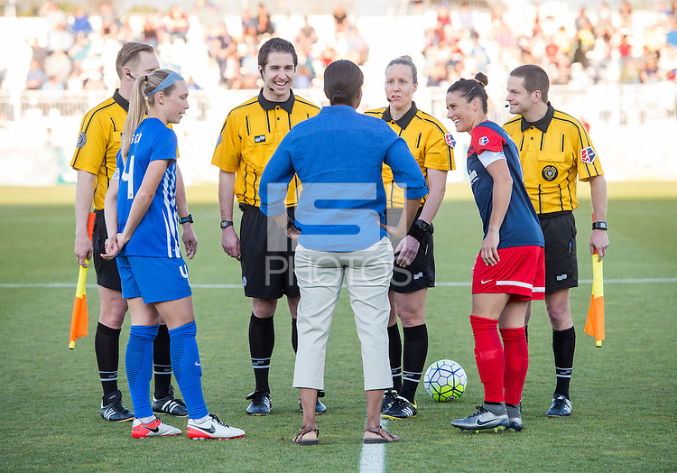 Boyds, MD - April 16, 2016: Briana Scurry, Boston Breakers captain Whitney Engen (4), and Washington Spirit captain Ali Krieger (11). The Washington Spirit defeated the Boston Breakers 1-0 during their National Women's Soccer League (NWSL) match at the Maryland SoccerPlex.