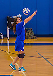 26 October 2014: Yeshiva University Maccabee Setter Aliza Muller, a Junior from Los Angeles, CA, in action against the College of Mount Saint Vincent Dolphins, in Riverdale, NY. The Dolphins defeated the Maccabees 3-0 in the NCAA Division III Women's Volleyball Skyline matchup. Mandatory Credit: Ed Wolfstein Photo *** RAW (NEF) Image File Available ***