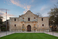 Pastel clouds drift over the Alamo on a peace spring morning in San Antonio, Texas. This sacred site now stands as a museum and as a memorial to those who lost their lives in the Battle of the Alamo on March 6, 1836.