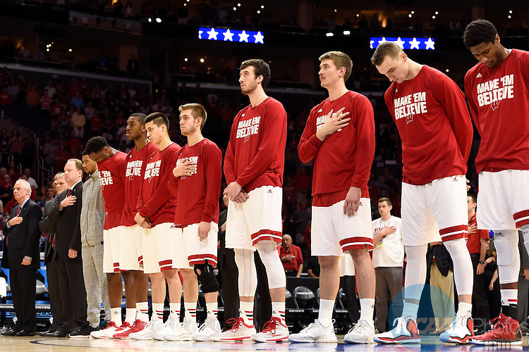28 MAR 2015:  The University of Wisconsin takes on the University of Arizona during the 2015 NCAA Men's Basketball Tournament held at the Staples Center in Los Angeles, CA.  Wisconsin defeated Arizona 85-78 to advance to the Final Four.  Jamie Schwaberow/NCAA Photos