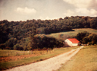 Polaroid transfer Country dirt road red barn landscape lonely lonesome