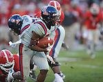 Ole Miss running back Jeff Scott (3) vs. Georgia's John Jenkins (6) at Sanford Stadium in Athens, Ga. on Saturday, November 3, 2012.