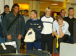 Rangers players with lost luggage at Glasgow airport. Spot the young Allan McGregor lurking behind the main men in 2002