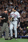 NEW YORK- Mike Piazza angrily confronts Roger Clemens after Clemens threw Piazza's shattered bat at him in the first inning of Game 2 of the 2000 World Series.