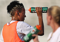 BOYDS, MARYLAND-JULY 07,2012:  Lianne Sanderson (10) of DC United Women cools down against the Dayton Dutch Lions during a W League game at Maryland Soccerplex, in Boyds, Maryland. DC United women won 4-1.