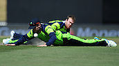 16.02.2015. Nelson, New Zealand.  William Porterfield from Ireland tries to stop the ball during the 2015 ICC Cricket World Cup match between West Indies and Ireland. Saxton Oval, Nelson, New Zealand.