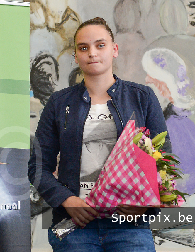 20150529 – OOSTENDE , BELGIUM : AA Gent's Nicky Evrard pictured during  the 1st edition of the Sparkle  award ceremony , Friday 29 May 2015, in Oostende . The Sparkle  is an award for the best female soccer player during the season 2014-2015 comparable to the Golden Shoe / Gouden Schoen / Soulier D'or for Men . PHOTO DAVID CATRY