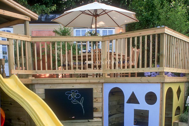 Multi-level Deck with kids in mind. Design: Boardman, Gelly & Co. Sandbox, sliding board pond, home landscaping, colorful backyard playground, chalk board, entertaining children at home