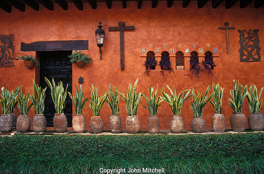 A decorated wall in the the Robert Brady House-Museum in Cuernavaca, Morelos, Mexico. The Casa de la Torre, the former house of American Robert Brady, now houses his collection of folk art from Mexico and around the world.