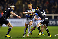 Tom Homer of Bath Rugby takes on the Newcastle Falcons defence. Aviva Premiership match, between Newcastle Falcons and Bath Rugby on January 2, 2016 at Kingston Park in Newcastle upon Tyne, England. Photo by: Patrick Khachfe / Onside Images