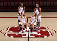 STANFORD, CA - September, 20, 2016: The 2016-2017 Stanford Women's Basketball Team. Mikaela Brewer, Anna Wilson, Nadia Fingall, Dijonai Carrington