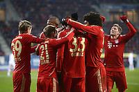 FUSSBALL   1. BUNDESLIGA  SAISON 2012/2013   16. Spieltag FC Augsburg - FC Bayern Muenchen         08.12.2012 Jubel nach dem Tor zum 0:2 Toni Kroos, Philipp Lahm, Mario Gomez und Dante (v. li., FC Bayern Muenchen)