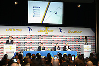 Santa Clara, CA - Tuesday, March 07, 2017: CONCACAF General Secretary, Philippe Moggio, CONCACAF President, Victor Montagliani, Al Guido, Dave Kaval, Group B during the unveiling of the CONCACAF 2017 Gold Cup Groups & Schedule at Levi's Stadium.