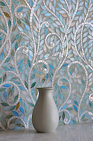 Climbing Vine, a jewel glass waterjet mosaic, is shown in glass Quartz and Aquamarine.