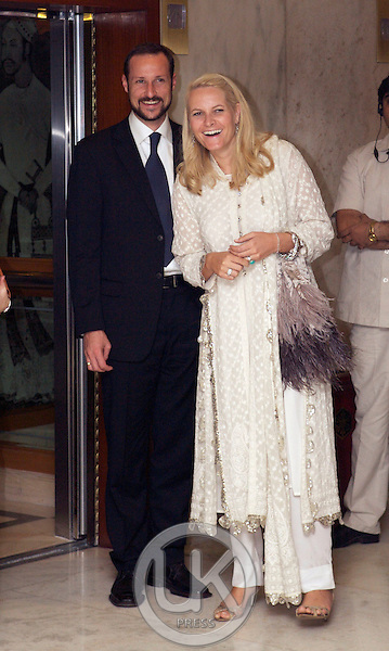 Crown Prince Haakon & Crown Princess Mette-Marit of Norway visit India. Arrival back at the Taj Mahal Hotel in New Delhi after a Concert & Dinner.