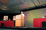 """Jon Stewart, host of Comedy Central's """"The Daily Show"""" makes some humorous remarks after being awarded the NSCAA's Honorary All-America for 2005 honor on Saturday, January 21st, 2006, during the National Soccer Coaches Association of America's annual convention in the Grand Ballroom of the Pennsylvania Convention Center in Philadelphia, PA."""
