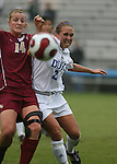 Florida State's Kirsten van de Ven (14) and Duke's Rebekah Fergusson (r) challenge for the ball on Sunday, October 22nd, 2006 at Koskinen Stadium in Durham, North Carolina. The Duke Blue Devils defeated the Florida State University Seminoles 3-1 in an Atlantic Coast Conference NCAA Division I Women's Soccer game.