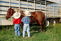 Young cowboys prepare for horse show in Oklahoma, <br />