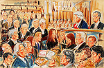 ©Priscilla Coleman ITV News 22.07.05.Supplied by: Photonews Service Ltd Old Bailey.Pic shows: A scene from the Roman Polanski libel trial against Vanity Fair magazine. Polanski won his case today and was awarded £50,000. See story.Illustration: Priscilla Coleman ITV News.