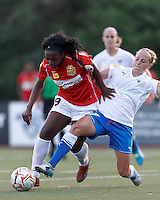 Second half substitute Western New York forward Jodi-Ann Robinson (9) with the ball, late in the game, in the penalty area thwarted by Boston Breakers defender Elli Reed (7). In a Women's Premier Soccer League Elite (WPSL) match, the Boston Breakers defeated Western New York Flash, 3-2, at Dilboy Stadium on May 26, 2012.