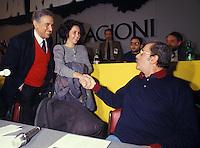 Roma 1987..Congresso del Partito Radicale.Enzo Tortora con la figlia Silvia saluta Domenico Modugno
