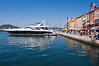 Large yacht moored in harbour, Saint Tropez, France