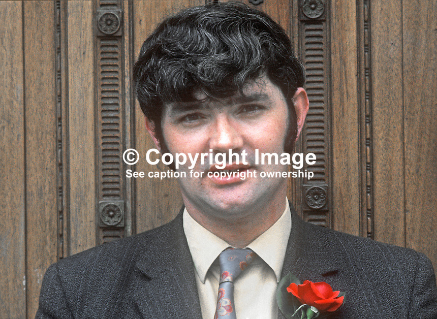 Pat McHugh, candidate, N Ireland Labour Party, North Antrim, N Ireland Assembly Election, June 1973. 197306000480a<br /> <br /> Copyright Image from Victor Patterson, 54 Dorchester Park, Belfast, UK, BT9 6RJ<br /> <br /> t1: +44 28 9066 1296 (from Rep of Ireland 048 9066 1296)<br /> t2: +44 28 9002 2446 (from Rep of Ireland 048 9002 2446)<br /> m: +44 7802 353836<br /> <br /> e1: victorpatterson@me.com<br /> e2: victorpatterson@gmail.com<br /> <br /> The use of my copyright images is subject to my Terms &amp; Conditions.<br /> <br /> It is IMPORTANT that you familiarise yourself with them. They are available on my website at www.victorpatterson.com.<br /> <br /> None of my copyright images may be used on a website or on television unless they are visibly watermarked, i.e. &copy; Victor Patterson within the body of the visible image. Also the image metadata of images used on the Internet must not be removed. <br /> <br /> Copyright acknowledgment of my images used in print is a condition of use.<br /> <br /> Failure to observe the above conditions will incur a penalty of at least 100% of the agreed fee. <br /> <br /> Web use (maximum size - 400 kb) is extra at currently recommended NUJ rates.