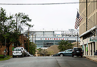 Washington D.C. - October 1, 2016: Nationals Park from the intersection of Water, T and Half streets. Buzzards Point area in Southwest Washington D.C. cleared for construction of the new soccer stadium for D.C. United scheduled to open in 2018.