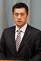 September 2, 2011, Tokyo, Japan  - Environment Minister Goshi Hosono fields questions from reports during a news conference at Kantei, prime ministers official residence, in Tokyo following an attestation ceremony before Emperor Akihito at the Imperial Palace in Tokyo on Friday, September 2, 2011. (Photo by AFLO) [3609] -mis-