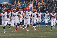 The Syracuse football team takes the field. The Pitt Panthers defeated the Syracuse Orange 30-7 at Heinz Field, Pittsburgh, Pennsylvania on November 22, 2014.