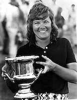 LPGA golfer Sandra Haynie holding the winners cup after wining the Lincoln-Mercury Open 1972 at the Round Hill Country Club in Alamo, California. She also won the same event in 1973. (photo/Ron Riesterer)