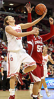 Ohio State Buckeyes forward Emilee Harmon (50) attempts a shot while guarded by Indiana Hoosiers forward Milika Taufa (55) in the second half of their game agains the Indiana Hoosiers at the Value City Arena in Columbus, Ohio on January 17, 2013. The Buckeyes beat The Hoosiers 68-45. (Columbus Dispatch photo by Brooke LaValley)