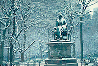 Statue of William Henry Seward in Madison Square Park in New York City, New York, by Randolph Rogers, snow