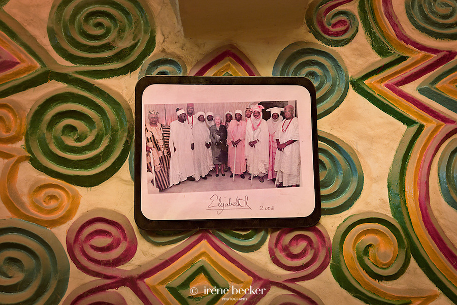 Emir's Palace design detail, photo on the wall with Queen Elizabeth II. Zaria, Nigeria.