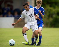 NWA Democrat-Gazette/JASON IVESTER<br /> Siloam Springs junior Irvin Rios and Mountain Home sophomore Koby Weber vie for possession Friday, May 19, 2017, at Razorback Field in Fayetteville during the 6A state championship game.