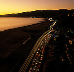 Pacific Coast Highway at Santa Monica at sunset.