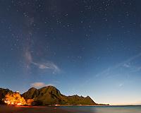 The Milky Way rises prominently over Bali Hai (Mt. Makana) on Kauai's north shore.