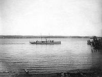 Lakewood NY:  Small Tour boat arriving at the Kent House boat pier - 1901.