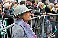 Hetty Bower, 106-year-old anti-war campaigner - 2011<br /> <br /> London, 08/10/2011. Today Trafalgar Square was the stage of the &quot;Antiwar Mass Assembly&quot; organised by The Stop The War Coalition to mark the 10th Anniversary of the invasion of Afghanistan. Thousands of people gathered in the square to listen to speeches given by journalists, activists, politicians, trade union leaders, MPs, ex-soldiers, relatives and parents of soldiers and civilians killed during the conflict, and to see the performances of actors, musicians, writers, filmmakers and artists. The speakers, among others, included: Jeremy Corbin, Joe Glenton, Seumas Milne, Brian Eno, Sukri Sultan and Shadia Edwards-Dashti, Hetty Bower, Mark Cambell, Sanum Ghafoor, Andrew Murray, Lauren Booth, Kate Hudson, Sami Ramadani, Yvone Ridley, Mark Rylance, Dave Randall, Roger Lloyd-Pack, Rebecca Thorn, Sanasino al Yemen, Elvis McGonagall, Lowkey (Kareem Dennis), Tony Benn, John Hilary, Bruce Kent, John Pilger, Billy Hayes, Alison Louise Kennedy, Joan Humpheries, Jemima Khan, Julian Assange, Lindsey German, George Galloway. At the end of the speeches a group of protesters marched toward Downing Street where after a peaceful occupation the police made some arrests.