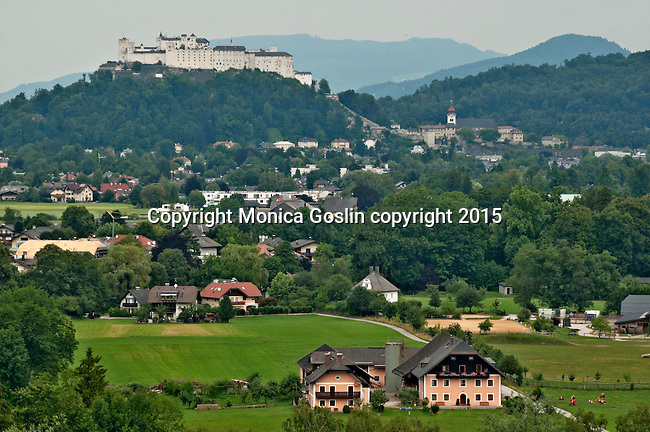 Looking across fields at the Hohensalzburg Fortress, which is over 900 years old; originally built to guarantee the safety of the archbishops, also used as barracks and a prison