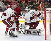 Adam Fox (Harvard - 18), Michael Ederer (SLU - 16), Merrick Madsen (Harvard - 31) - The Harvard University Crimson defeated the St. Lawrence University Saints 6-3 (EN) to clinch the ECAC playoffs first seed and a share in the regular season championship on senior night, Saturday, February 25, 2017, at Bright-Landry Hockey Center in Boston, Massachusetts.
