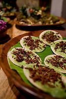 Tostadas de chapulines (grasshopper tostadas). Casa Oaxaca boutique hotel, Oaxaca