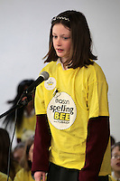 NO FEE PICTURES.8/3/12 Suzannah Quinn, Ballyboughal NS, Dublin, taking part in the Dublin County final, part of the overall Eason 2012 Spelling Bee, held at St Olaf's NS, Dundrum. .For further details visit www.easons.com/spellingbee and stay tuned to RTE 2fm. Picture:Arthur Carron/Collins