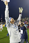 08 December 2013: UCLA's Katelyn Rowland celebrates after the game. The Florida State University Seminoles played the University of California Los Angeles Bruins at WakeMed Stadium in Cary, North Carolina in a 2013 NCAA Division I Women's College Cup championship game. UCLA won the game 1-0 in overtime.