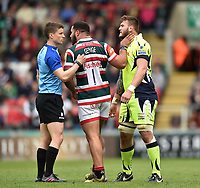 Ellis Genge of Leicester Tigers gets to know Laurence Pearce of Sale Sharks. Aviva Premiership match, between Leicester Tigers and Sale Sharks on April 29, 2017 at Welford Road in Leicester, England. Photo by: Patrick Khachfe / JMP