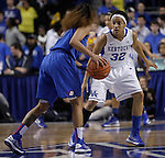 Junior guard, Kastine Evans, defends against DePaul's Brittany Hrynko. The University of Kentucky Women's Basketball team hosted DePaul University Friday, Dec 07, 2012 at Rupp Arena in Lexington. Photo by Kirsten Holliday