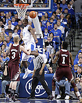UK forward Alex Poythress blocks a shot during the first half of the men's basketball game against Mississippi State at Rupp Arena in Lexington, Ky. on Saturday, February 27, 2013. Photo by Genevieve Adams