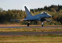 Typhoon EF-2000 Eurofighter from the German Air Force about to take off for a display during Rygge Air Show. Norway