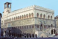 Italy: Perugia--Palazzo Dei Priori, 3/4 view. Photo '83.